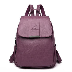Purple cute leather backpack for women