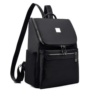 Nylon black backpack with top opening