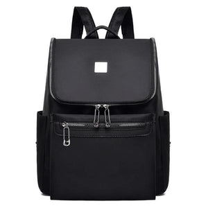 Black backpack with large top opening for women