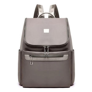 Grey backpack with large top opening for women