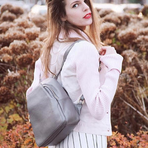 Gray small convertible backpack purse for women