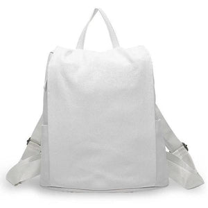 White womens leather backpack anti theft
