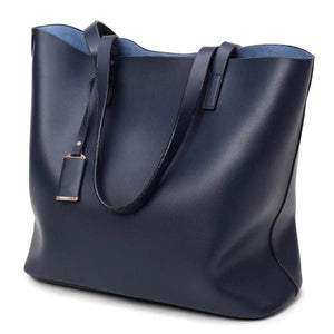 Blue tote bag faux leather with zipper