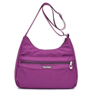 Purple lightweight nylon handbags women