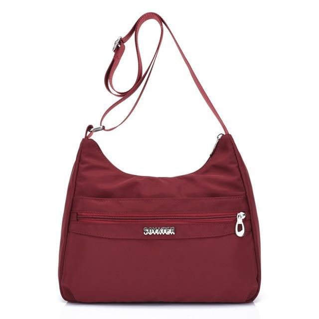 Wine red lightweight nylon handbags women