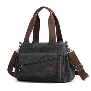 black canvas purse multiple pocket