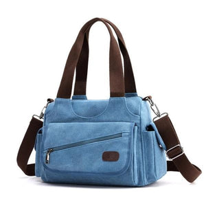Blue canvas purse multiple pocket