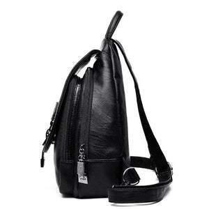 Sling backpack for women leather side