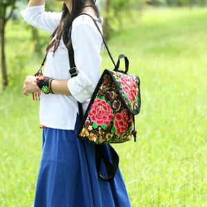 women rose with petal embroidery backpack