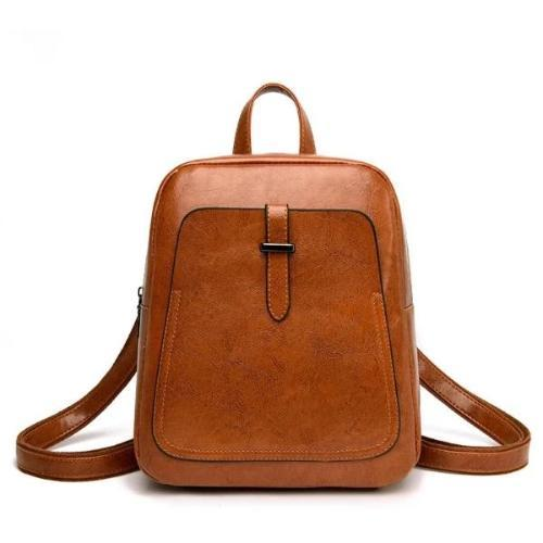 Brown vintage leather backpack