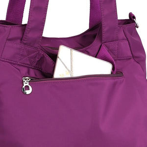 nylon bag with phone zipper and pockets