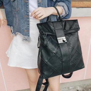 Anti theft black women backpack