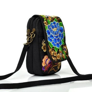 ethnic embroidery double pocket small bag