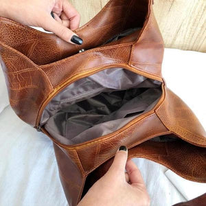 Brown triple compartment bag