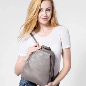 Small gray leather backpack purse