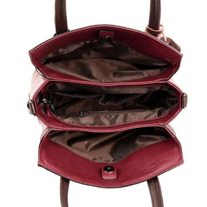 Red handbags with lots of pockets