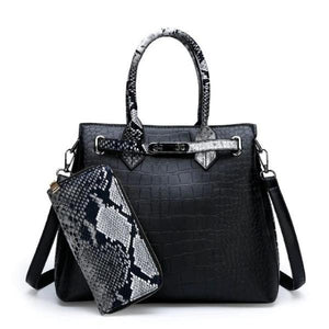 Black snakeskin and crocodile bag and wallet set