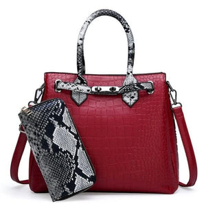 Red snakeskin and crocodile bag and wallet set