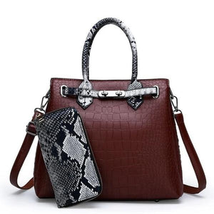 Red wine snakeskin and crocodile bag and wallet set