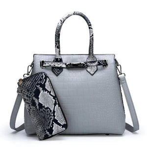 Gray snakeskin and crocodile bag and wallet set