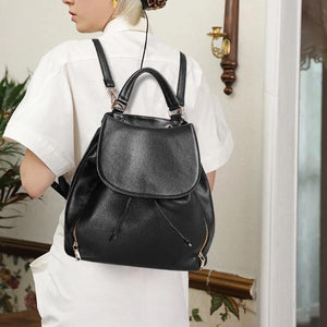 Fashion black genuine leather backpack with top handles