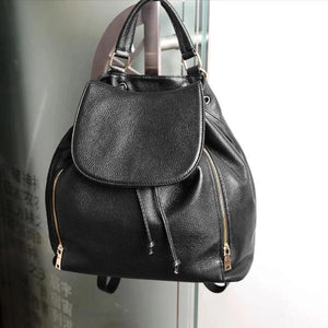 Black genuine leather with top handle