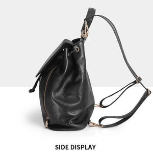 Black leather backpack with side zipper compartment