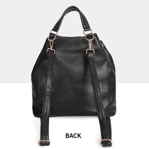 Black leather backpack with removable straps