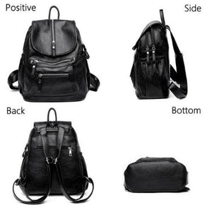 Double leather compartment backpack