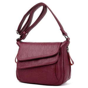 Red leather crossbody bag with lots of pockets