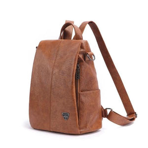 leather backpack with side pocket