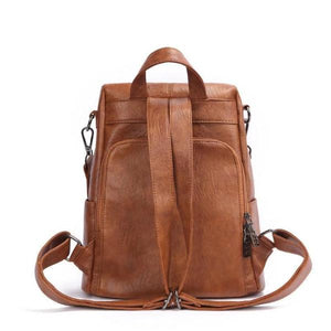 leather backpack with back opening