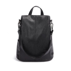 black backpack purse leather