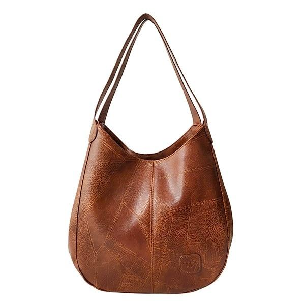 Brown triple compartment leather shoulder bag