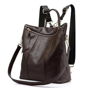 Leather tote with backpack strap