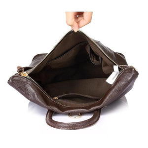 Tote leather backpack top opening with zipper