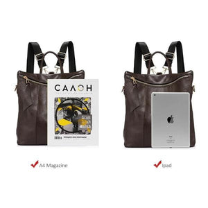 Leather tote backpack can hold notebook and ipad