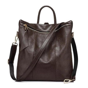 Coffe Convertible backpack tote leather