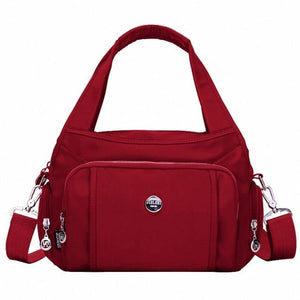 Red crossbody nylon shoulder bag