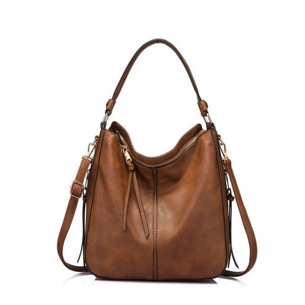Brown leather crossbody hobo bag