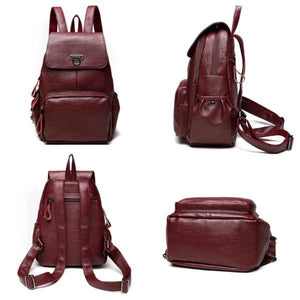 Women red wine leather backpack for girls