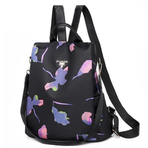 pink and purple flower backpack purse