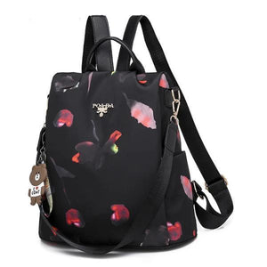 back and pink and red tulip backpack purse