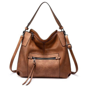 Brown Large leather crossbody tote with double strap