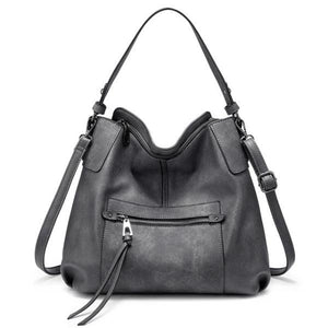 Gray Large leather crossbody tote with double strap