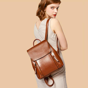 Brown leather backpack purse for ladies