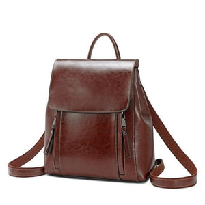 Dark brown Crossbody leather backpack purse