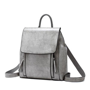 Gray Crossbody leather backpack purse