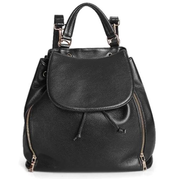 Black leather backpack with top handles for women