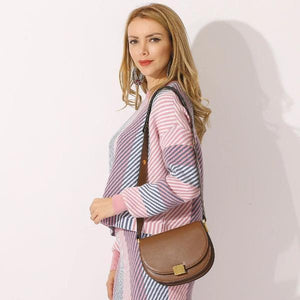 brown leather saddle crossbody bag